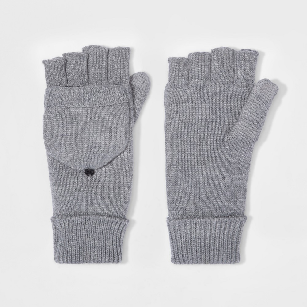 Mens Fold Over Mitten With Fleece Lined - Goodfellow & Co Gray One Size