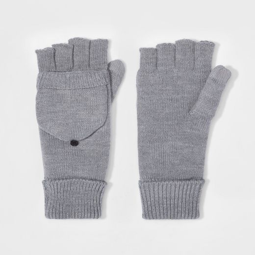 Men's Fold Over Mitten With Fleece Lined - Goodfellow & Co™ Gray One Size