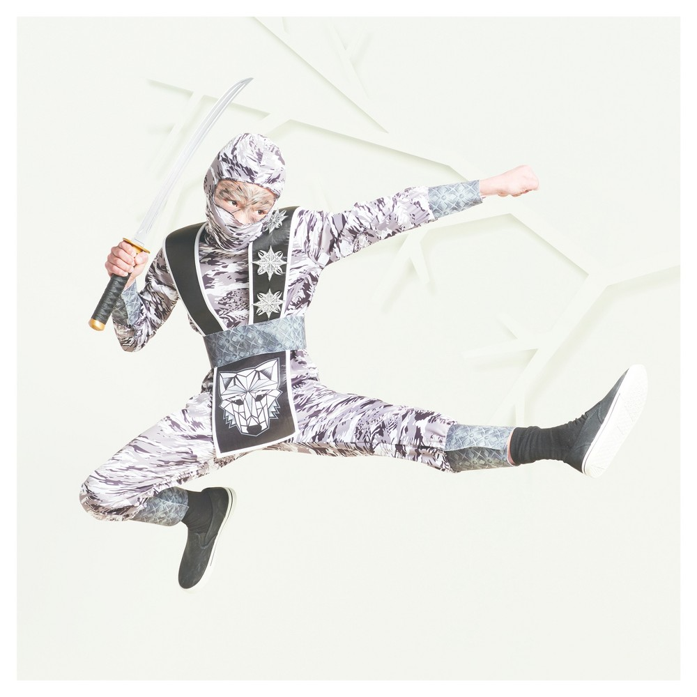 Boys Winter Wolf Ninja Costume S (4-6) - Hyde and Eek! Boutique, Gray