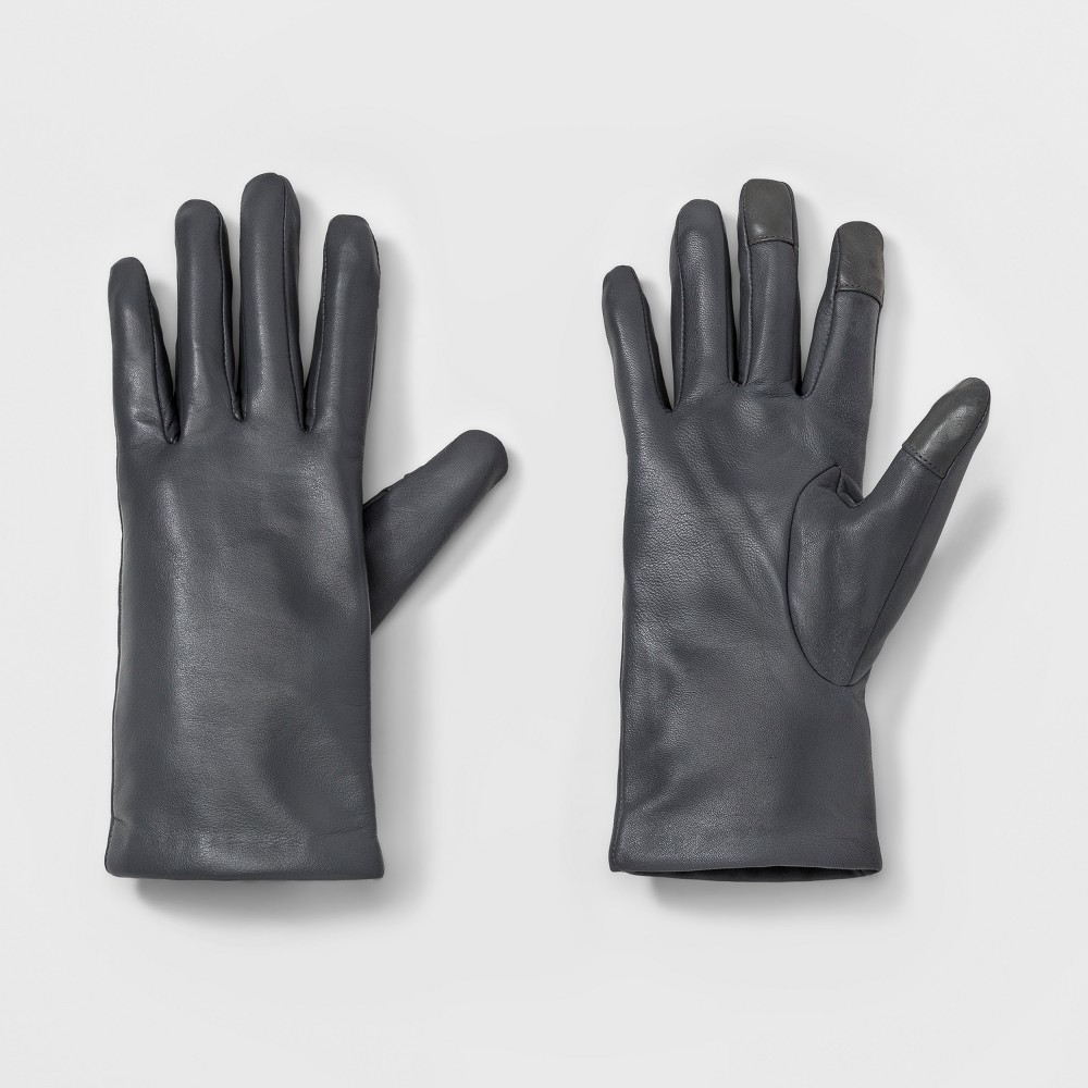 Womens Leather Tech Touch Gloves - A New Day Gray M/L