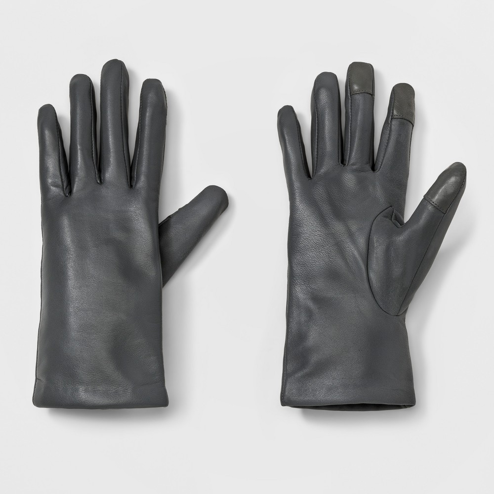 Womens Leather Tech Touch Gloves - A New Day Gray XS