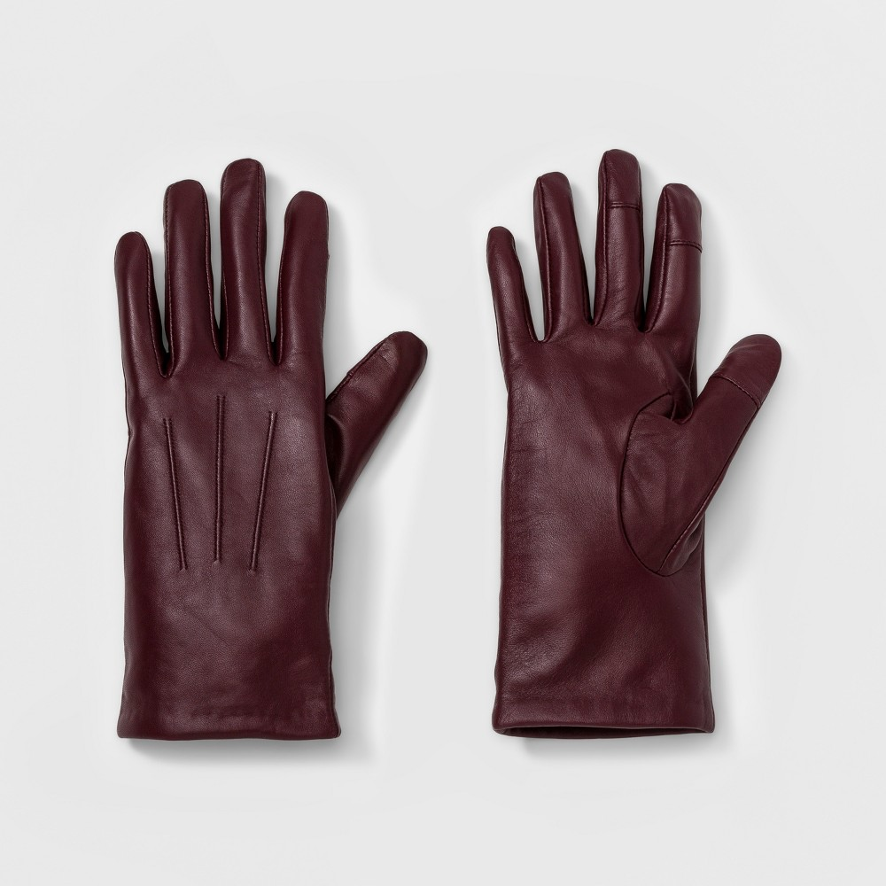 Womens Leather Tech Touch Gloves - A New Day Burgundy (Red) XS/S