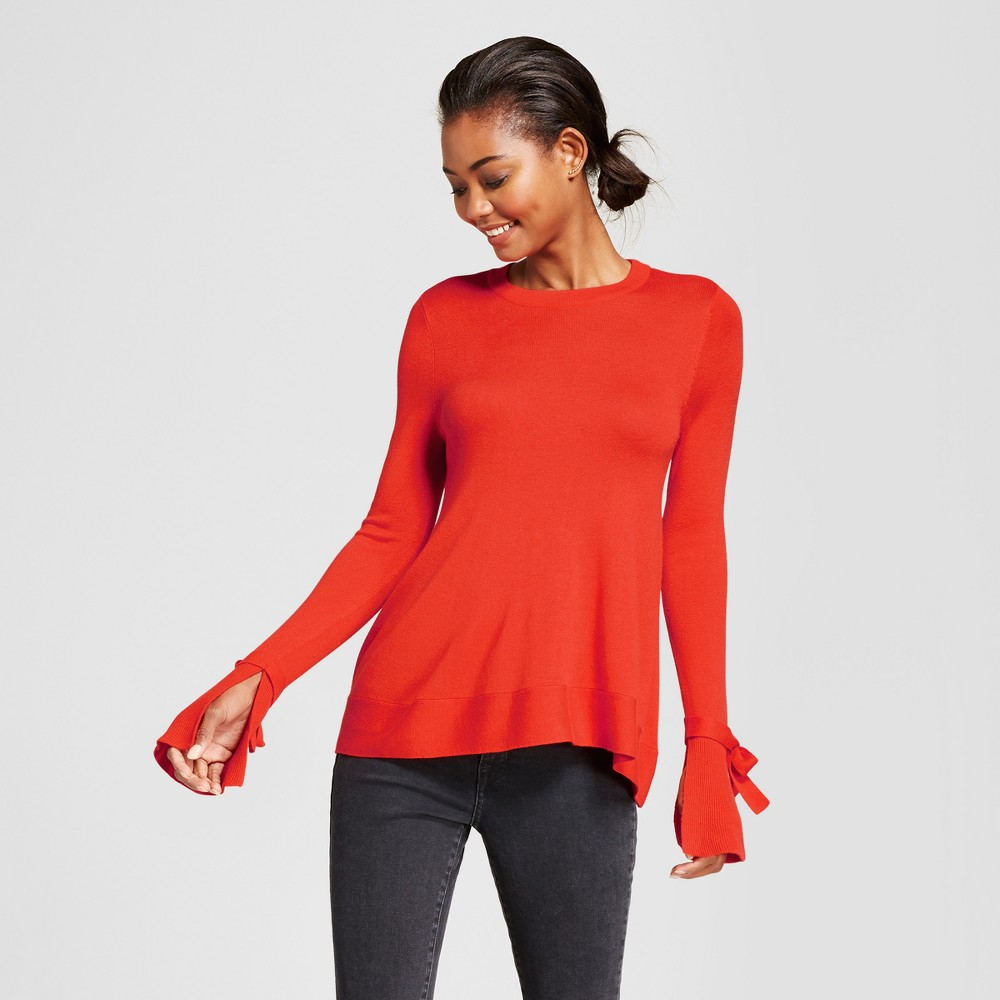 Womens Relaxed Bell Sleeve Any Day Pullover Sweater - A New Day Red XS