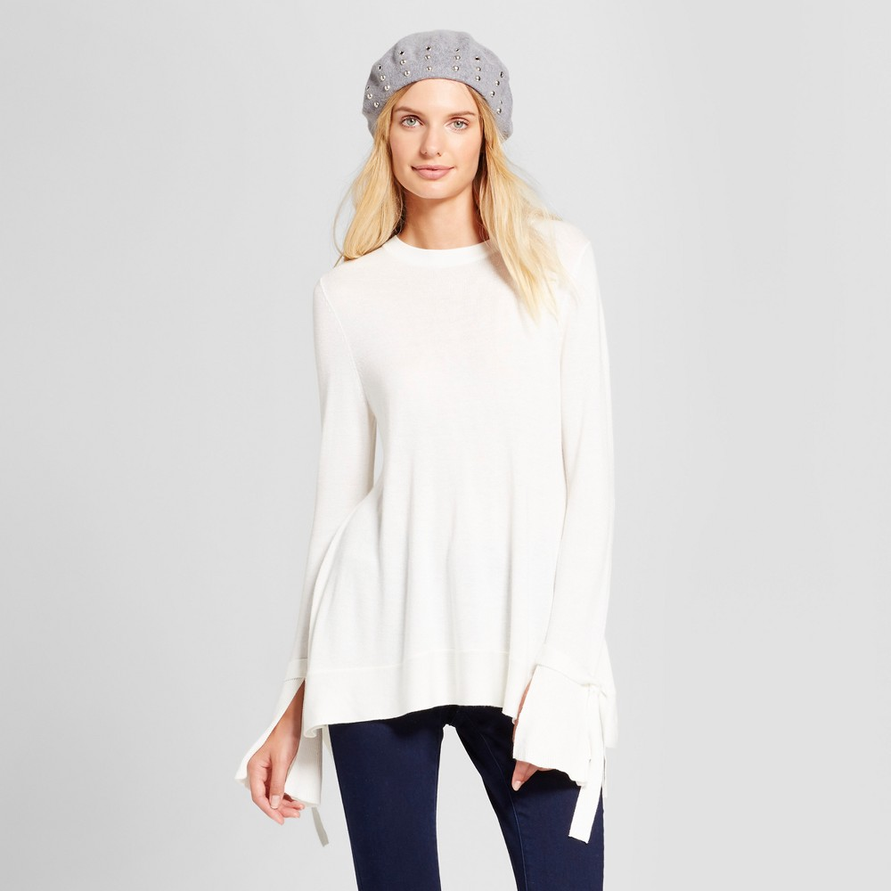 Womens Relaxed Bell Sleeve Any Day Pullover Sweater - A New Day Cream (Ivory) L