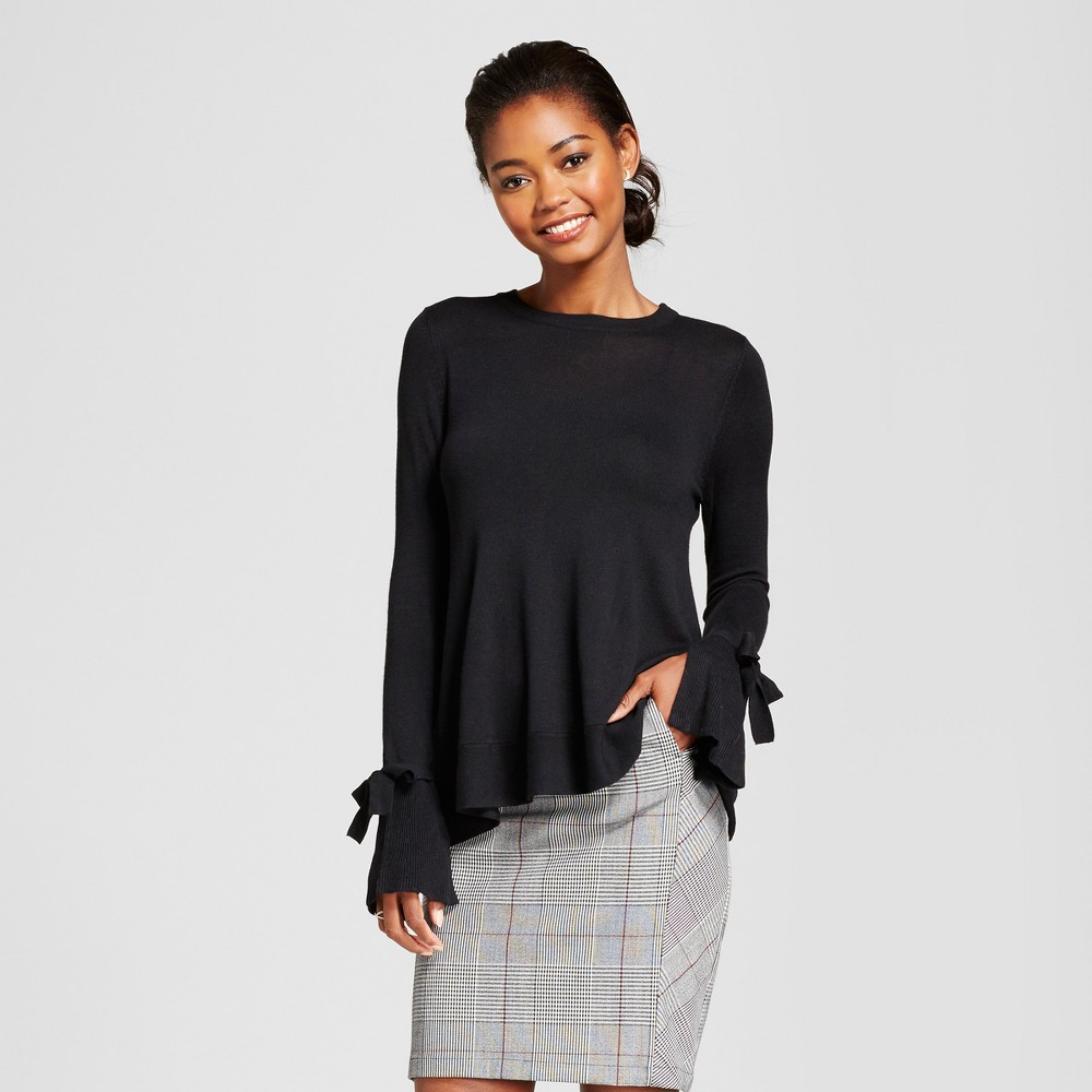 Womens Relaxed Bell Sleeve Any Day Pullover Sweater - A New Day Black L