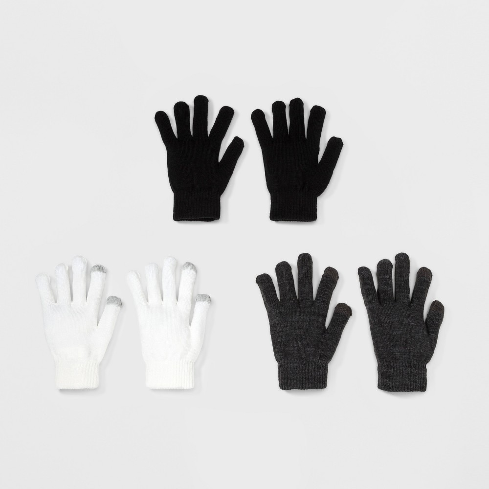 Womens 3pk Knit Tech Touch Gloves - Mossimo Supply Co. Gray, Gray/Ivory