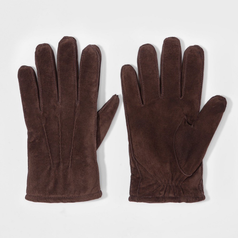 Mens Goat Suede Gloves With Sherpa Lined - Goodfellow & Co Brown L