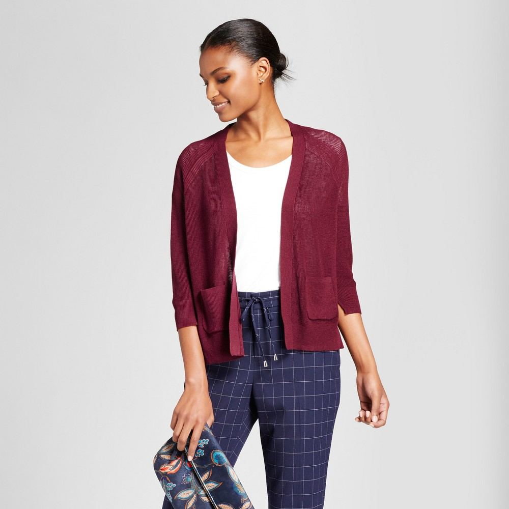 Womens Open Layering Cardigan - A New Day Maroon (Red) M