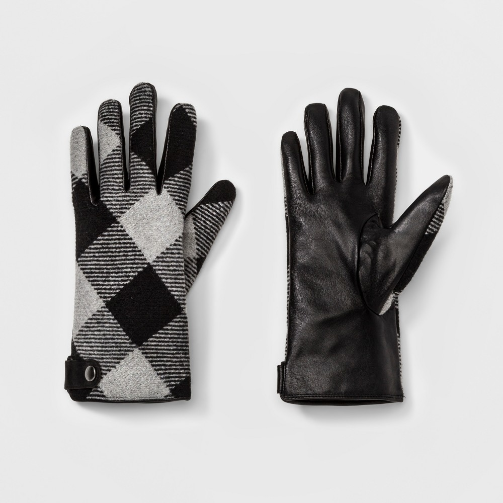 Womens Plaid Tech Touch Gloves - A New Day Gray/Black M/L