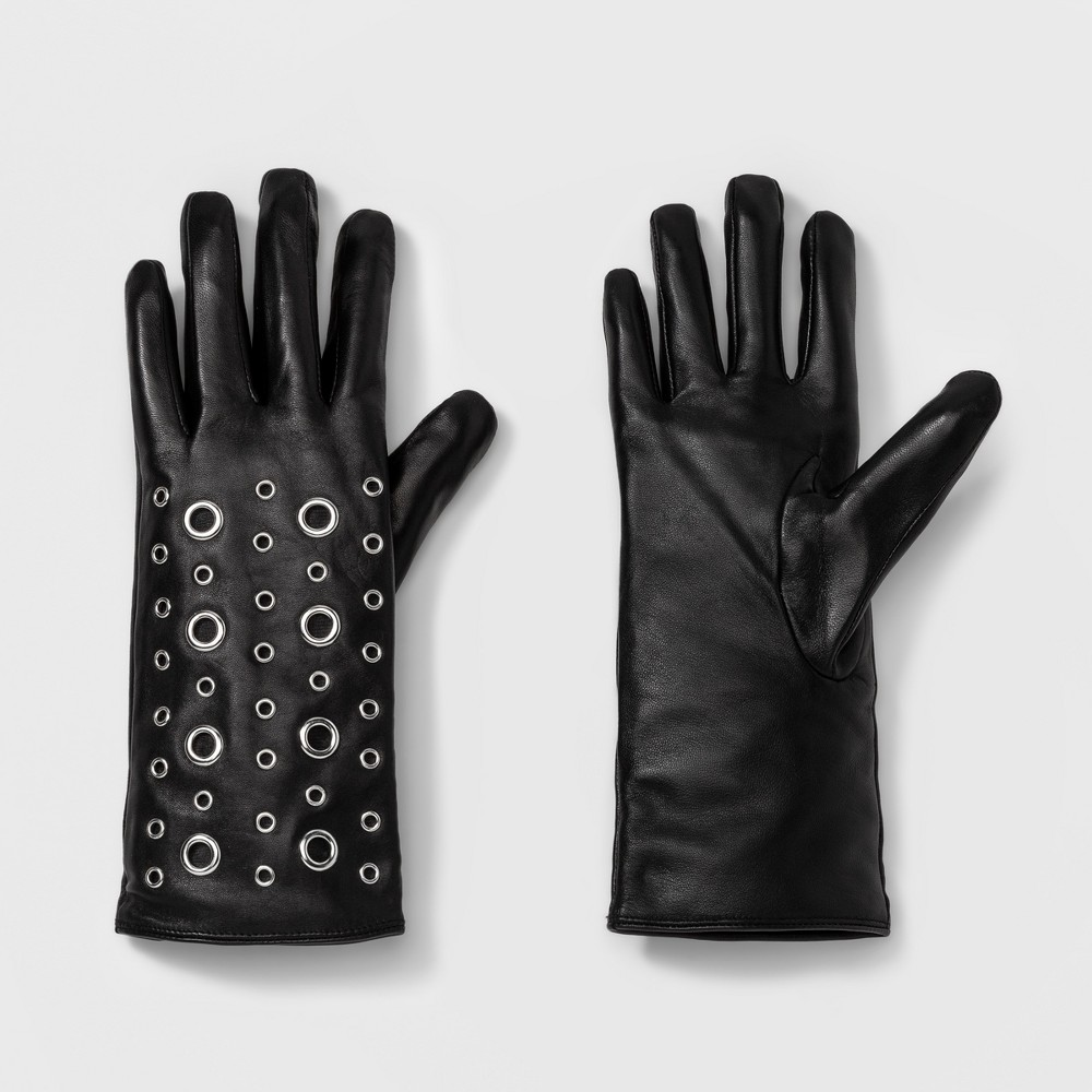 Womens Leather Tech Touch Gloves with Grommets - A New Day Black XS/S