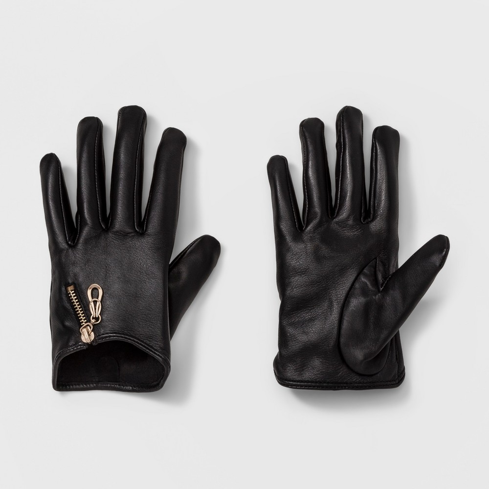 Womens Leather Tech Touch Driving Gloves - A New Day Black M/L