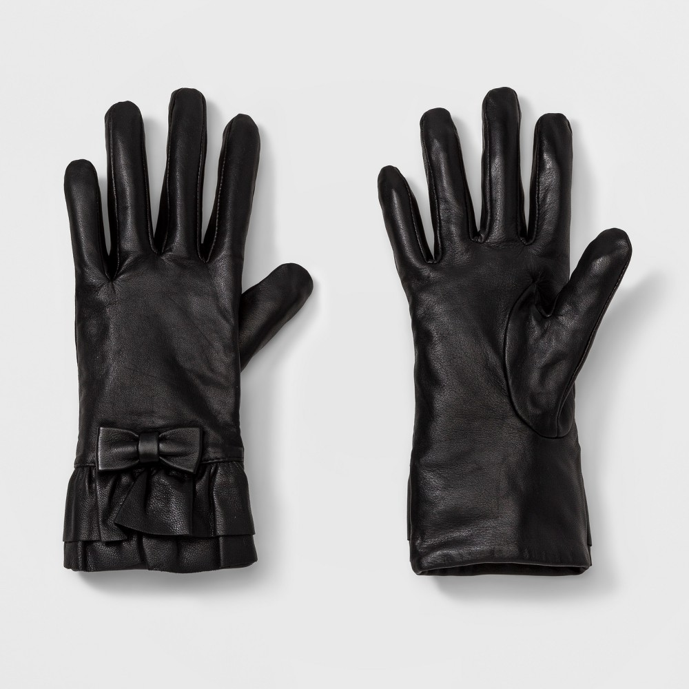 Womens Ruffle Tech Touch Gloves - A New Day Black XS/S