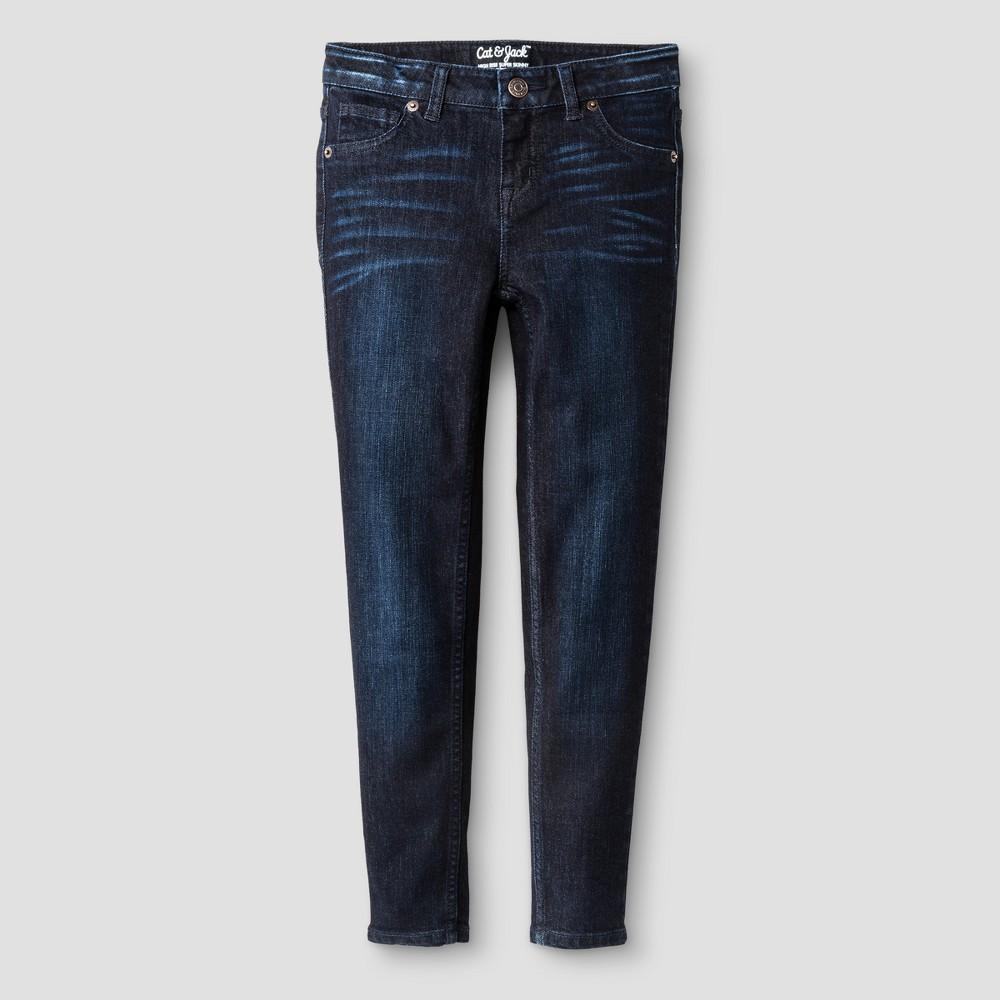 Girls High Rise Super Skinny Jeans - Cat & Jack Dark Blue 7
