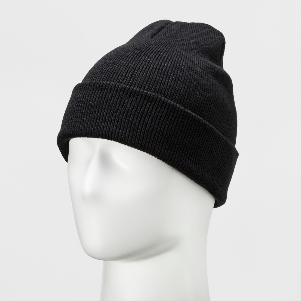 Mens Opposite Knit Classic Cuffed And Marled Hat - Goodfellow & Co Black One Size