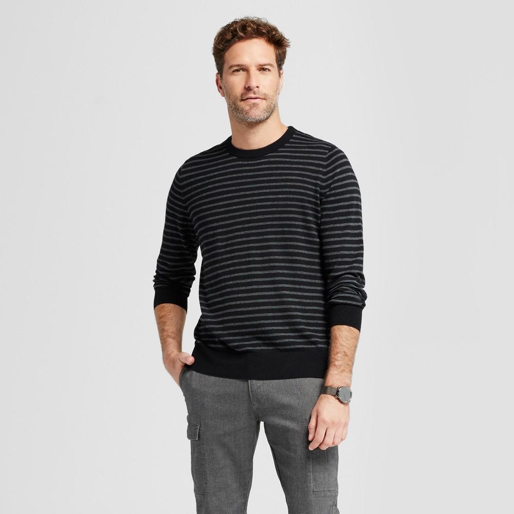Men's Striped Crew Neck Sweater - Goodfellow & Co Black Xxl