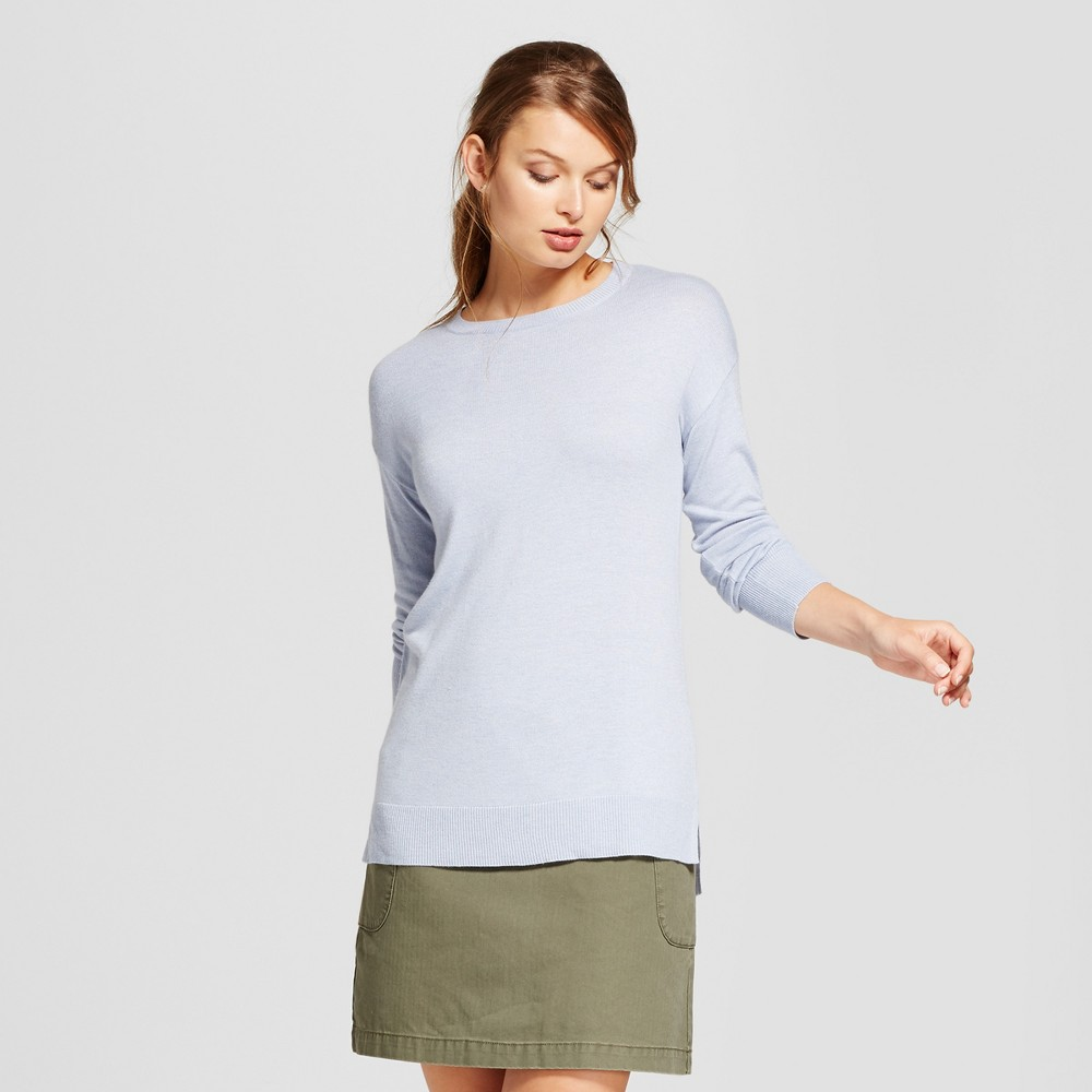 Womens Crew Neck Luxe Any Day Pullover - A New Day Light Blue S
