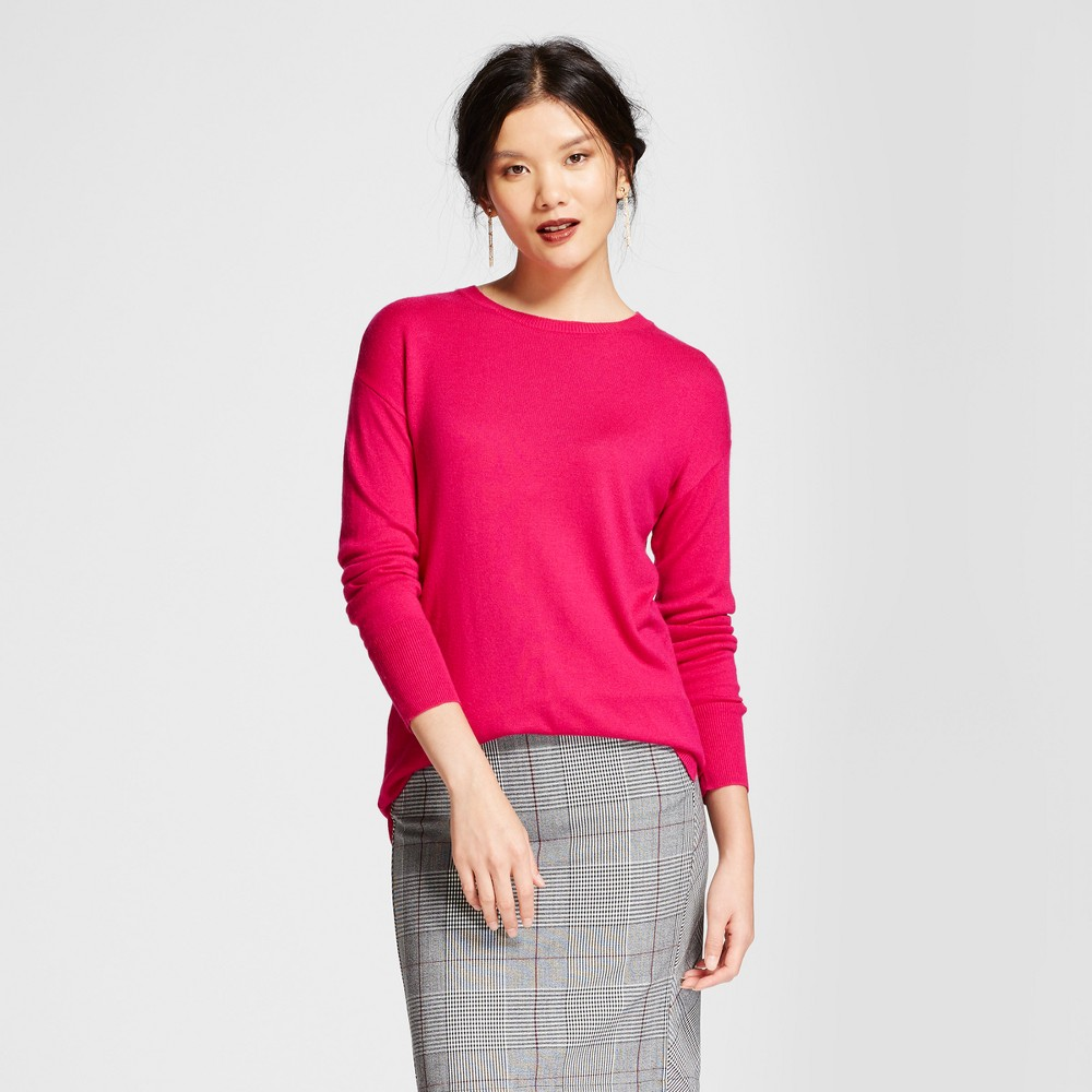 Womens Crew Neck Luxe Any Day Pullover - A New Day Magenta (Pink) XL