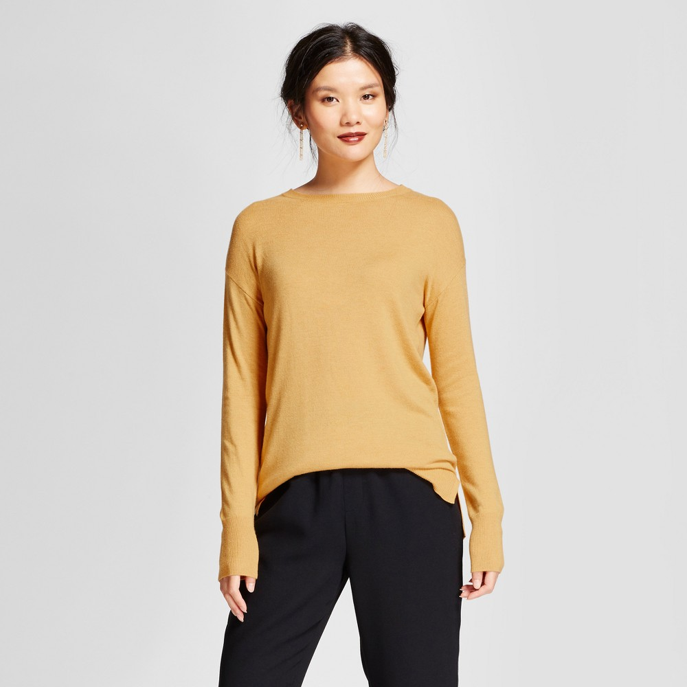 Womens Crew Neck Luxe Any Day Pullover - A New Day Gold XS