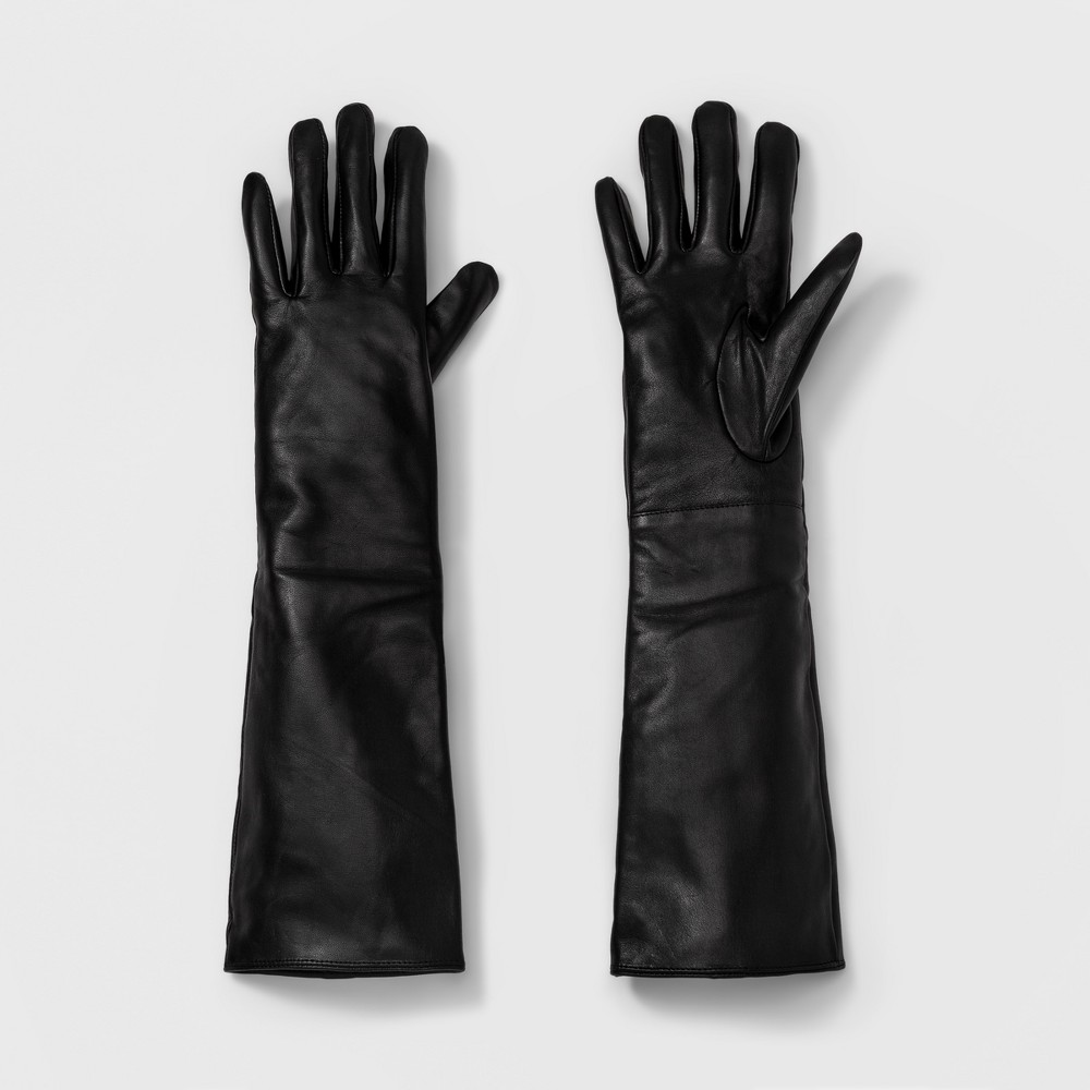 Womens Long Leather Tech Touch Gloves - A New Day Black M/L