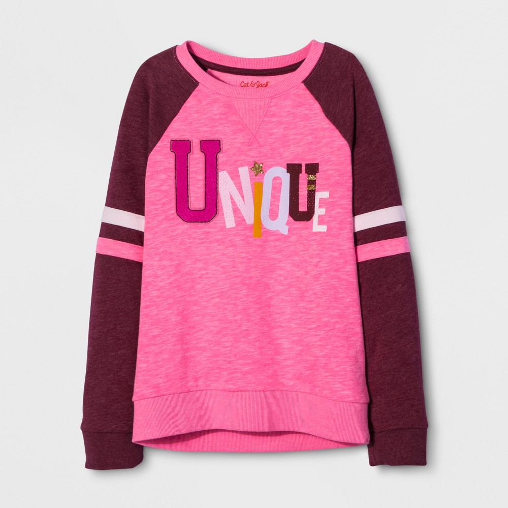 Girls Long Sleeve Unique Pullover - Cat & Jack Pink M