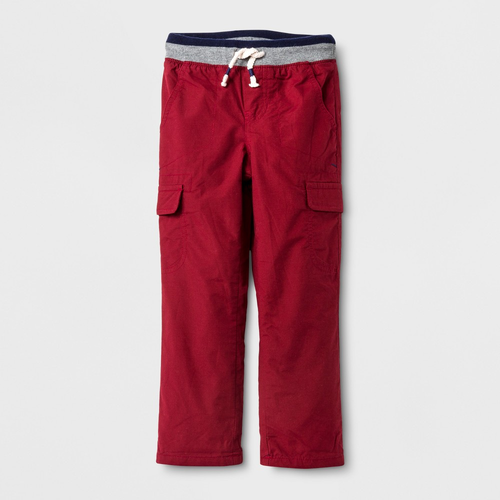 Toddler Boys Lined Pull-On Pants - Cat & Jack Red 2T