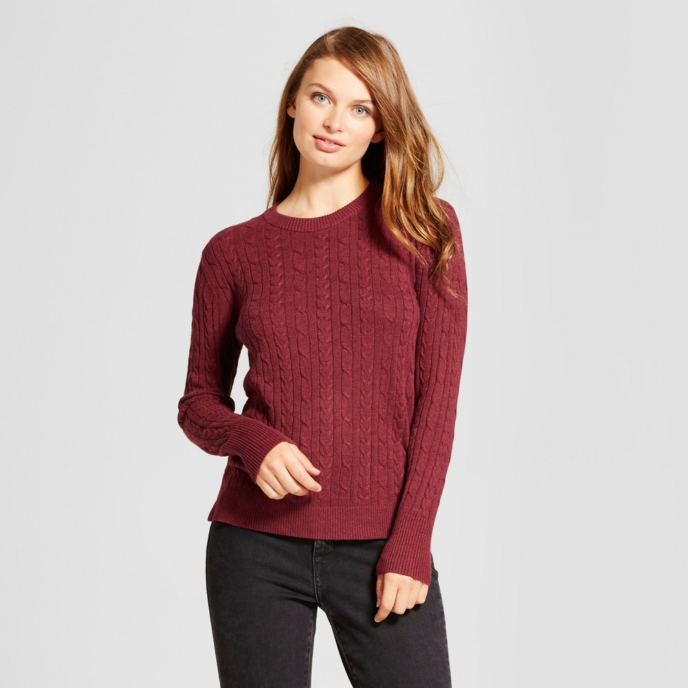 Womens Cable Any Day Pullover - A New Day Burgundy (Red) L
