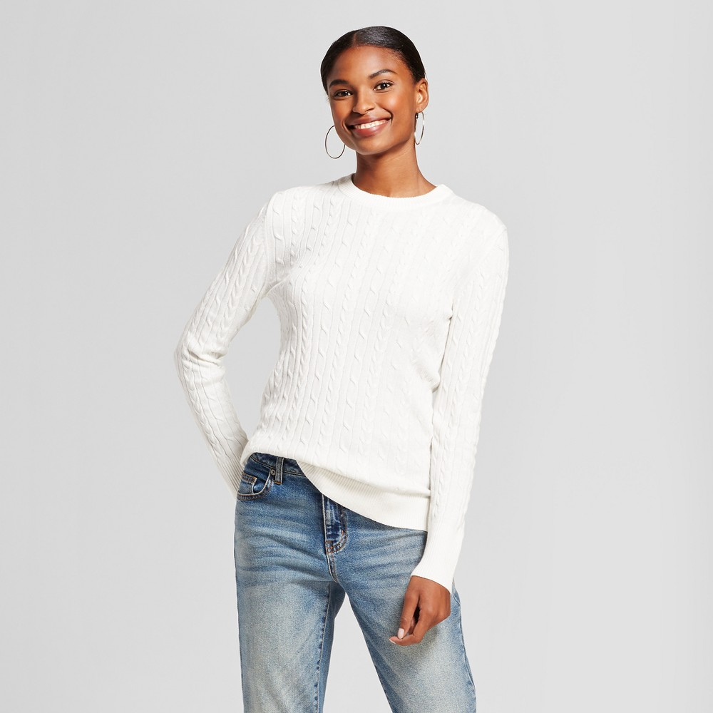 Womens Cable Any Day Pullover - A New Day Cream (Ivory) M
