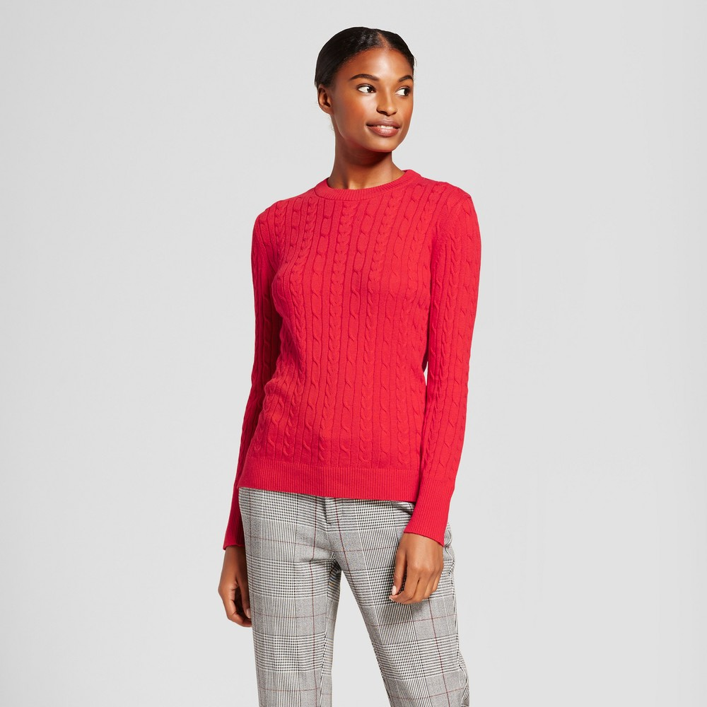 Womens Cable Any Day Pullover - A New Day Red XS