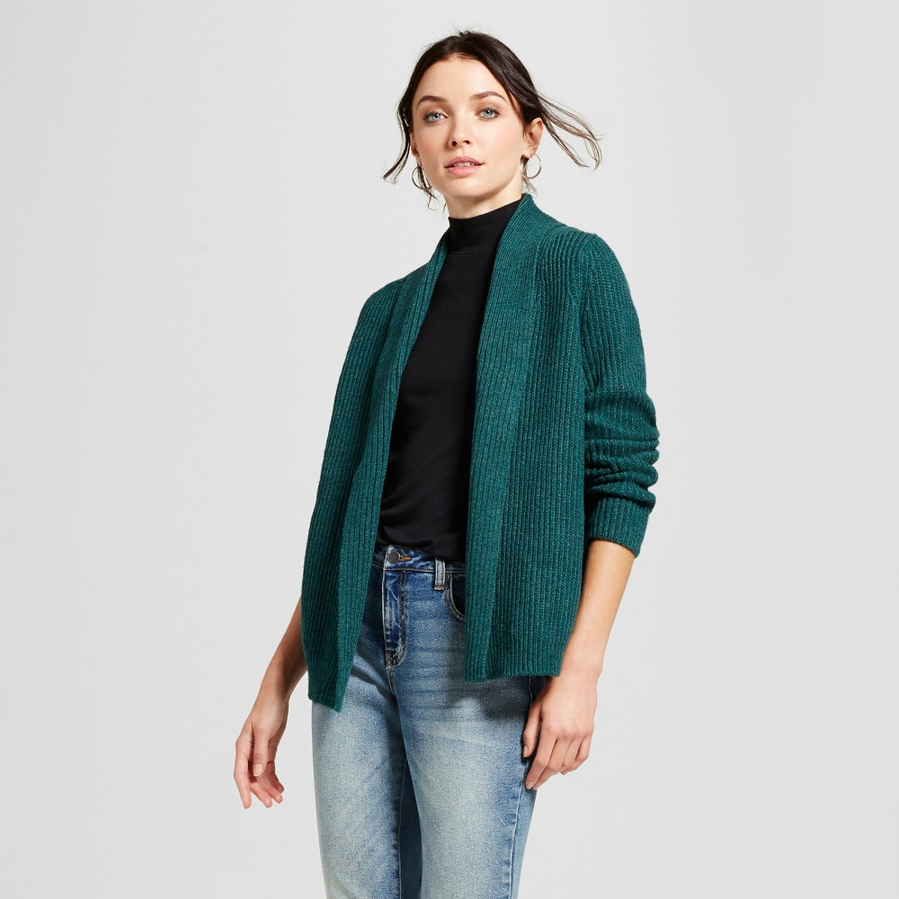 Womens Shawl Collar Cardigan - A New Day Green S