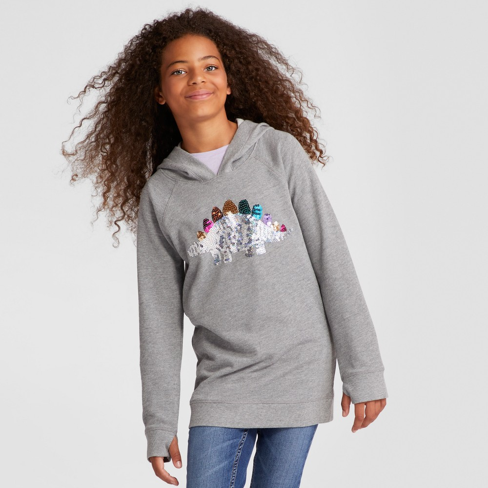 Girls Long Sleeve Dinosaur Sweatshirt - Cat & Jack Charcoal Heather S, Gray