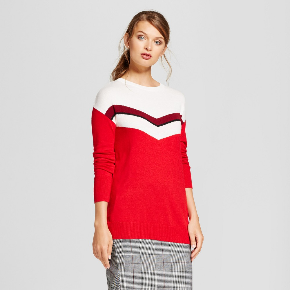 Womens Chevron Crew Luxe Any Day Pullover - A New Day Red L