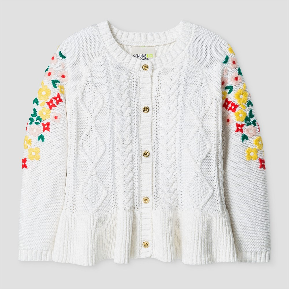 Toddler Girls Button Cardigan With Embroidered Mesh Sleeve - Genuine Kids from OshKosh Cream 5T, Beige