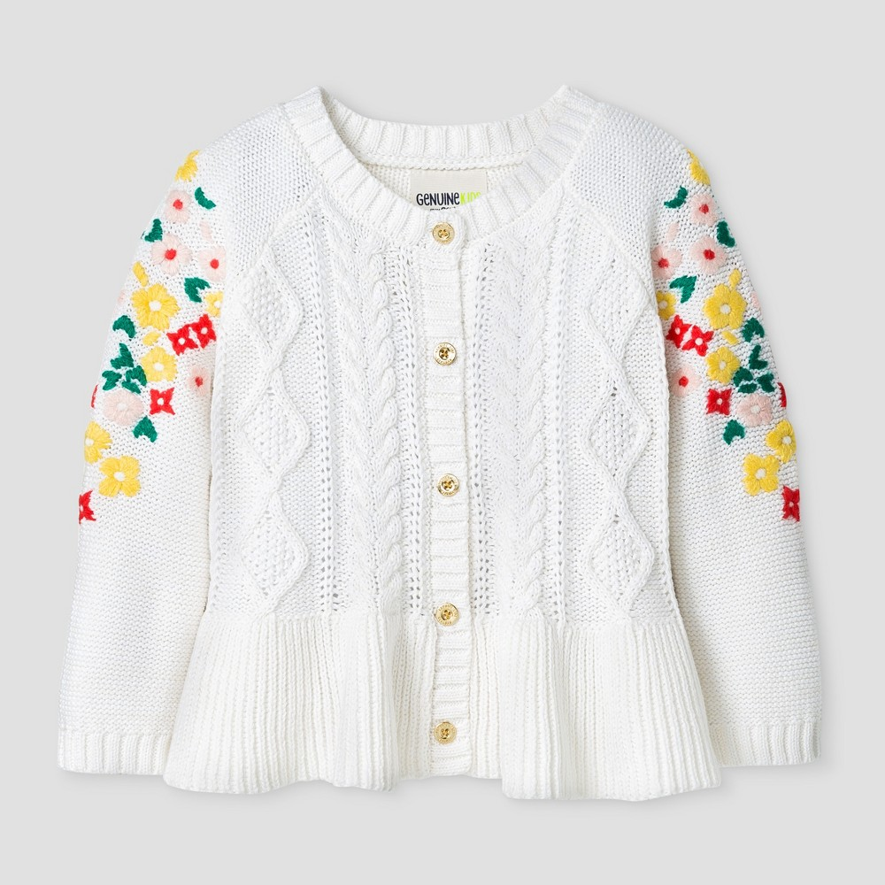 Toddler Girls Button Cardigan With Embroidered Mesh Sleeve - Genuine Kids from OshKosh Cream 18M, Size: 18 M, Beige