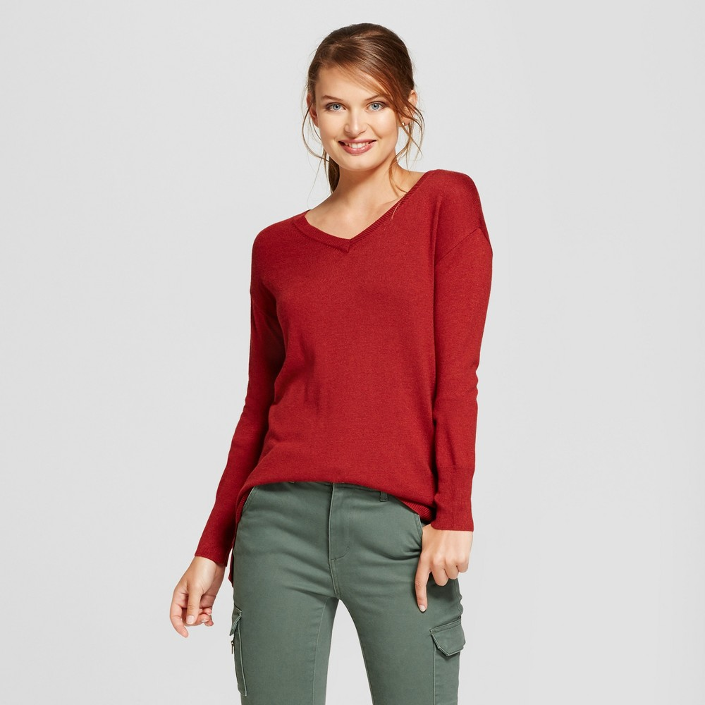 Womens V-Neck Luxe Any Day Pullover - A New Day Rust (Red) S
