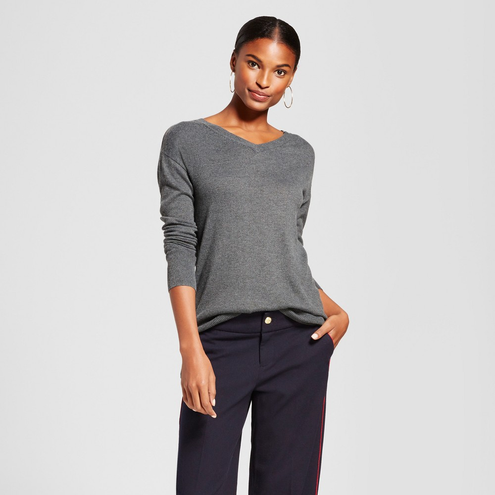 Womens V-Neck Luxe Any Day Pullover - A New Day Charcoal Heather L
