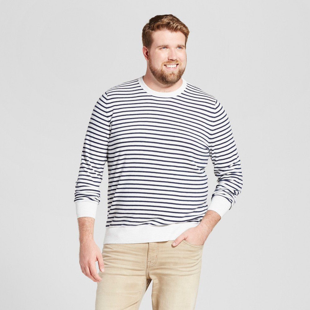 Mens Big & Tall Striped Crew Neck Sweater - Goodfellow & Co Gray 2XB, Heather Gray