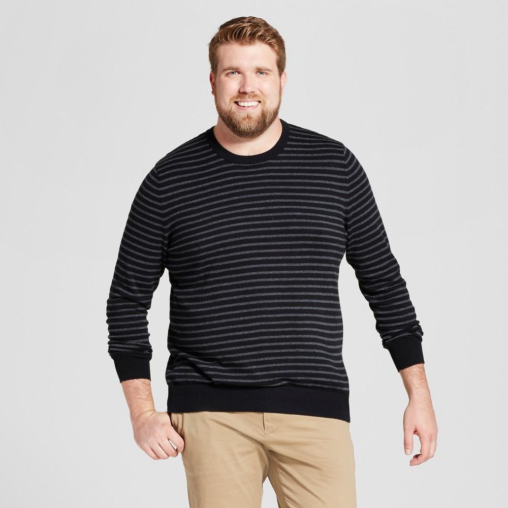 Mens Big & Tall Striped Crew Neck Sweater - Goodfellow & Co Black Xlt