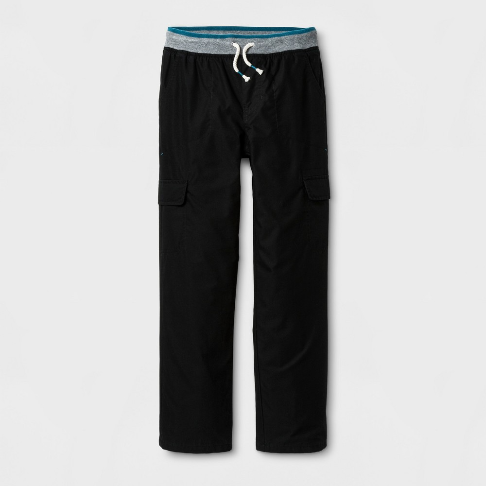 Boys Lined Cargo Pull-On Pants - Cat & Jack Black XL