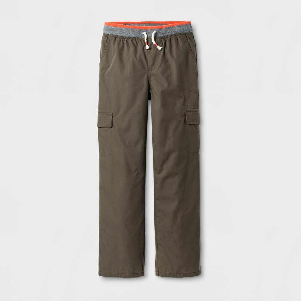 Boys Lined Cargo Pull-On Pants - Cat & Jack Olive Metal M
