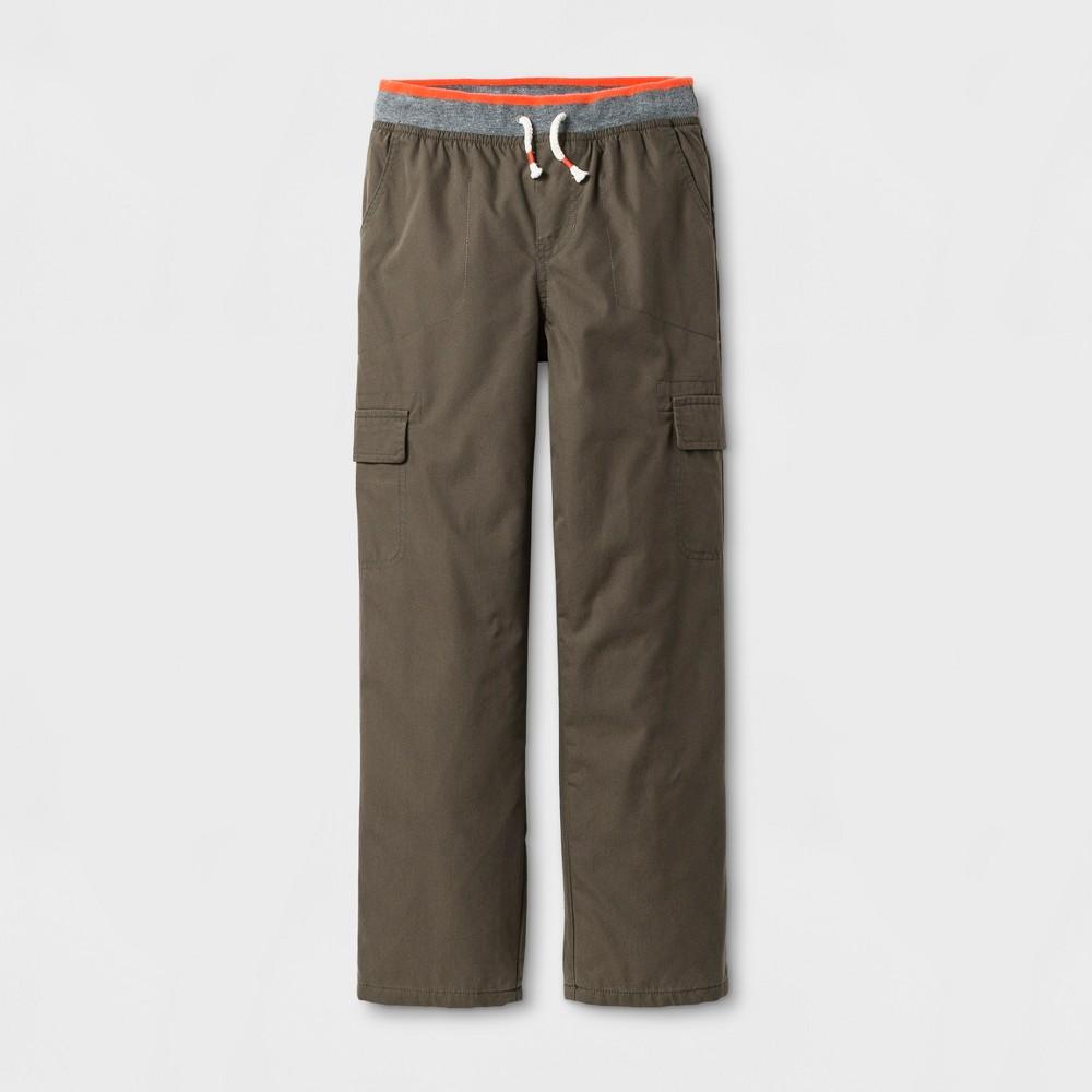 Boys Lined Cargo Pull-On Pants - Cat & Jack Olive Metal Husky L, Size: L Husky