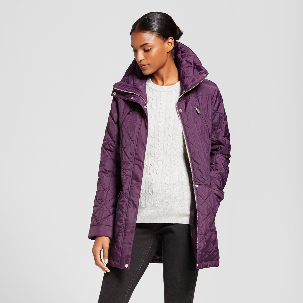 Womens 3/4 Length Quilted Jacket - A New Day Eggplant XL