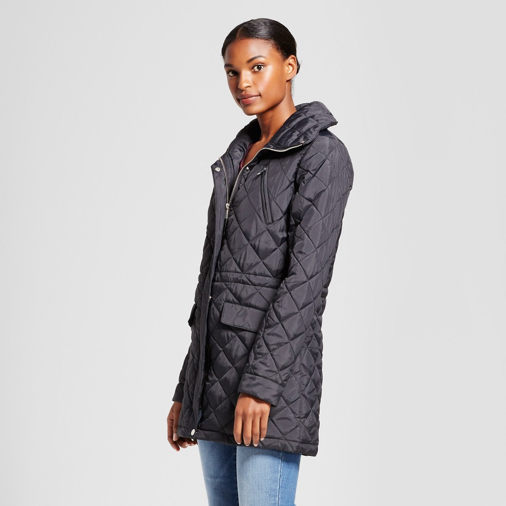 Womens 3/4 Length Quilted Jacket - A New Day Black M