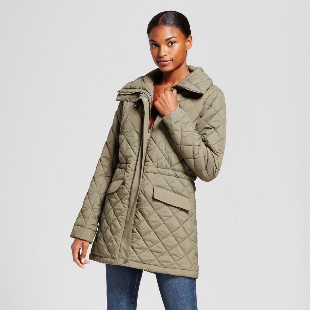 Womens 3/4 Length Quilted Jacket - A New Day Olive (Green) M