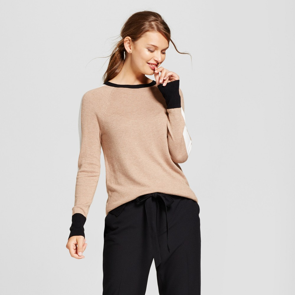 Womens Color Block Crew Neck Luxe Any Day Pullover - A New Day Light Taupe XS