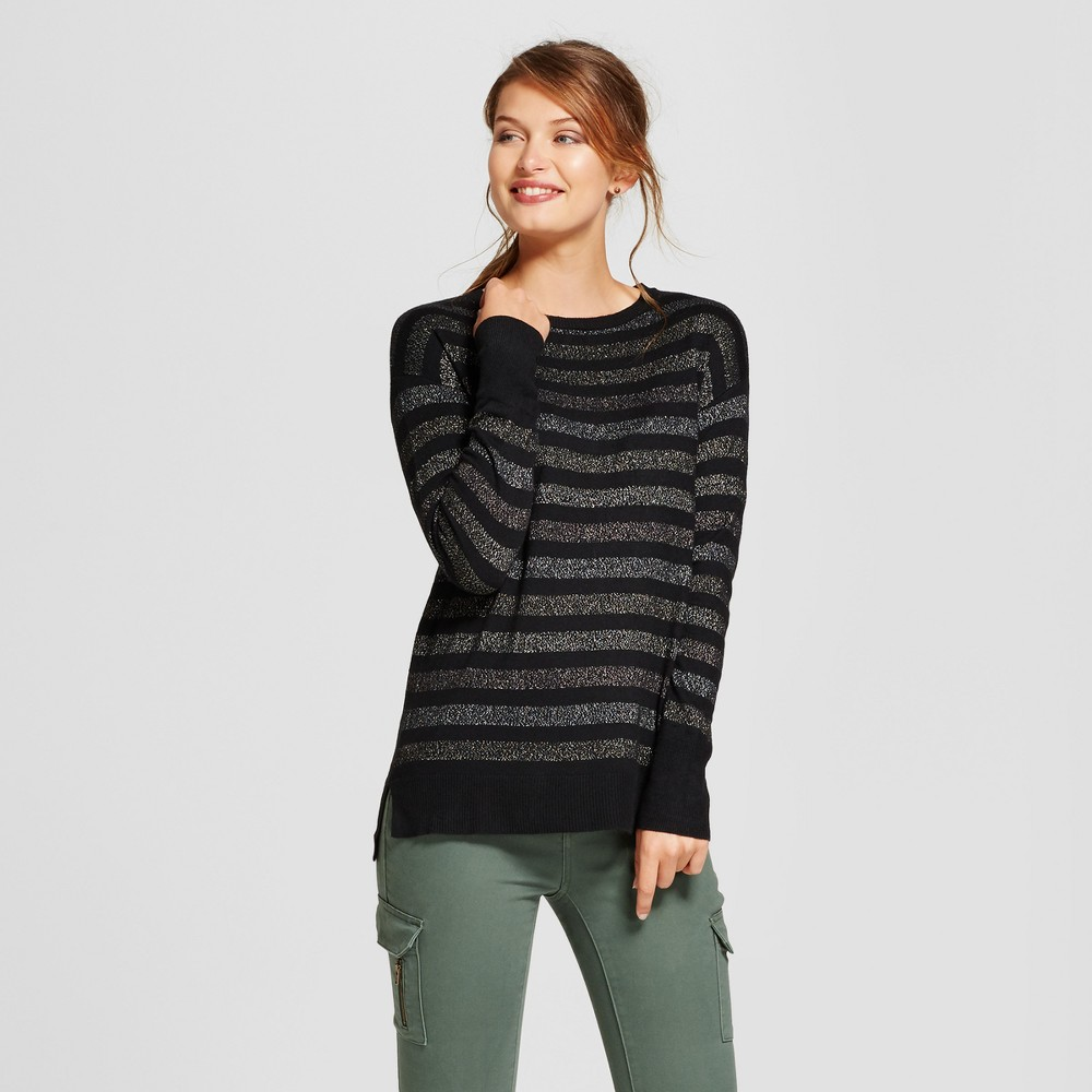 Womens Shine Stripe Crew Neck Luxe Any Day Pullover - A New Day Black L