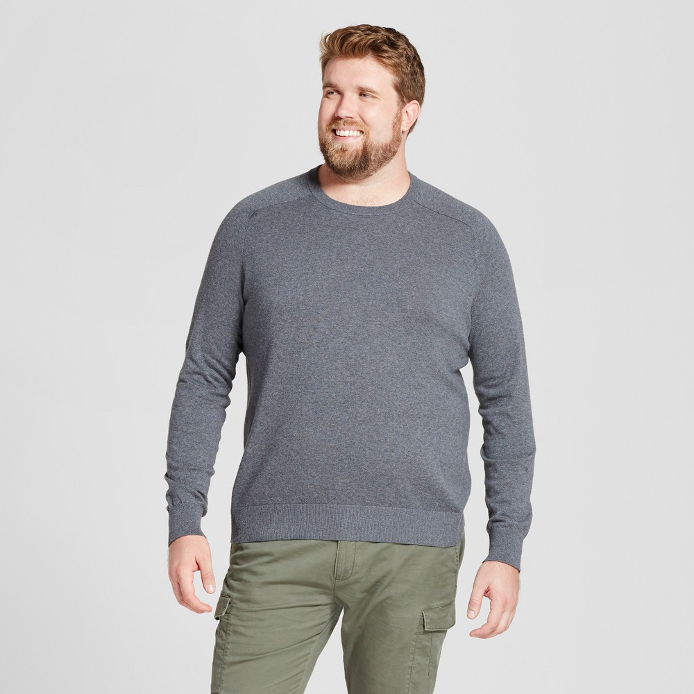 Mens Big & Tall Crew Neck Sweater - Goodfellow & Co Gray 2XB, Heather Gray