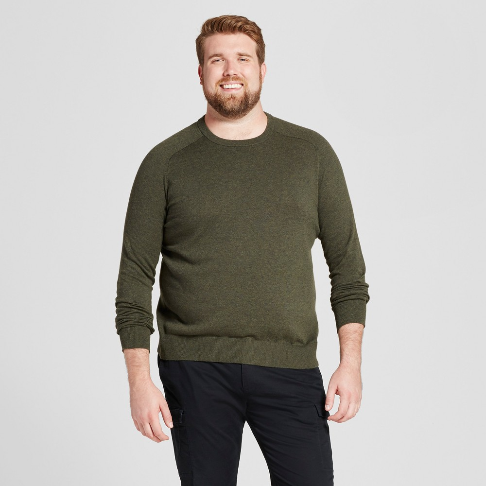 Mens Big & Tall Crew Neck Sweater - Goodfellow & Co Olive Heather LT