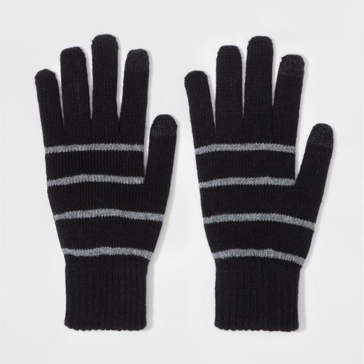 Men's Opposite Knit Gloves With Stripes - Goodfellow & Co™ Gray Stripe One Size