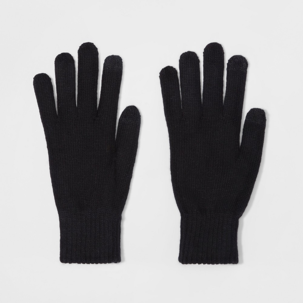 Men's Opposite Knit Gloves - Goodfellow & Co Black One Size