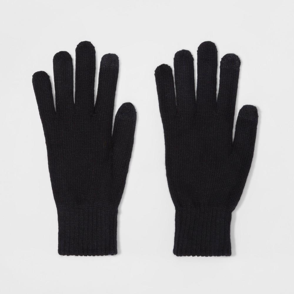 Mens Opposite Knit Gloves - Goodfellow & Co Black One Size